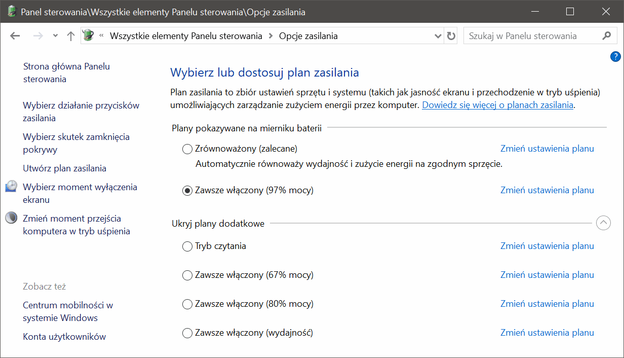 Plany zasilania w Windows 10