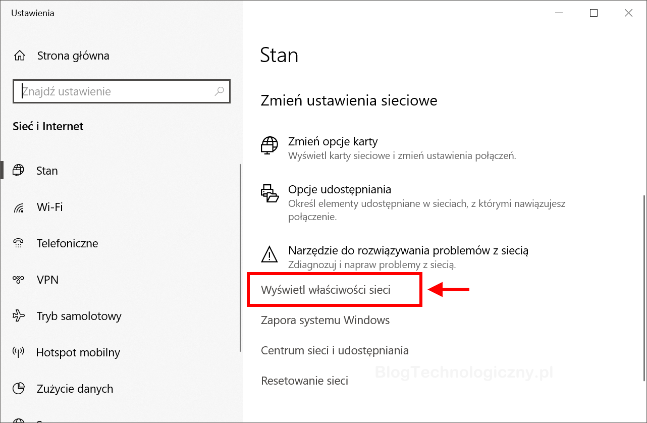 stan sieci w Windows 10